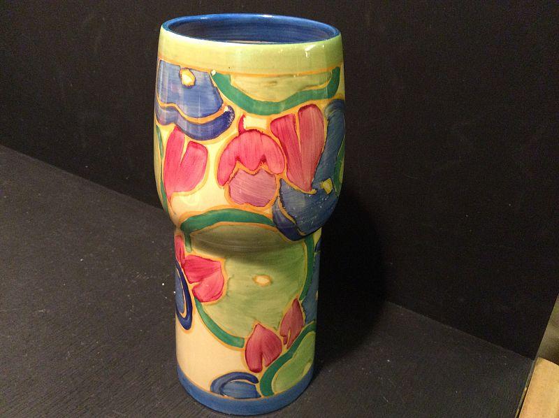 Clarice Cliff A Wonderful Blue Chintz Pattern Shape 376 Vase